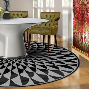 circular rug, black and grey pattern