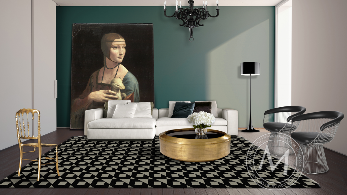 loungeroom with grey and black floor rug