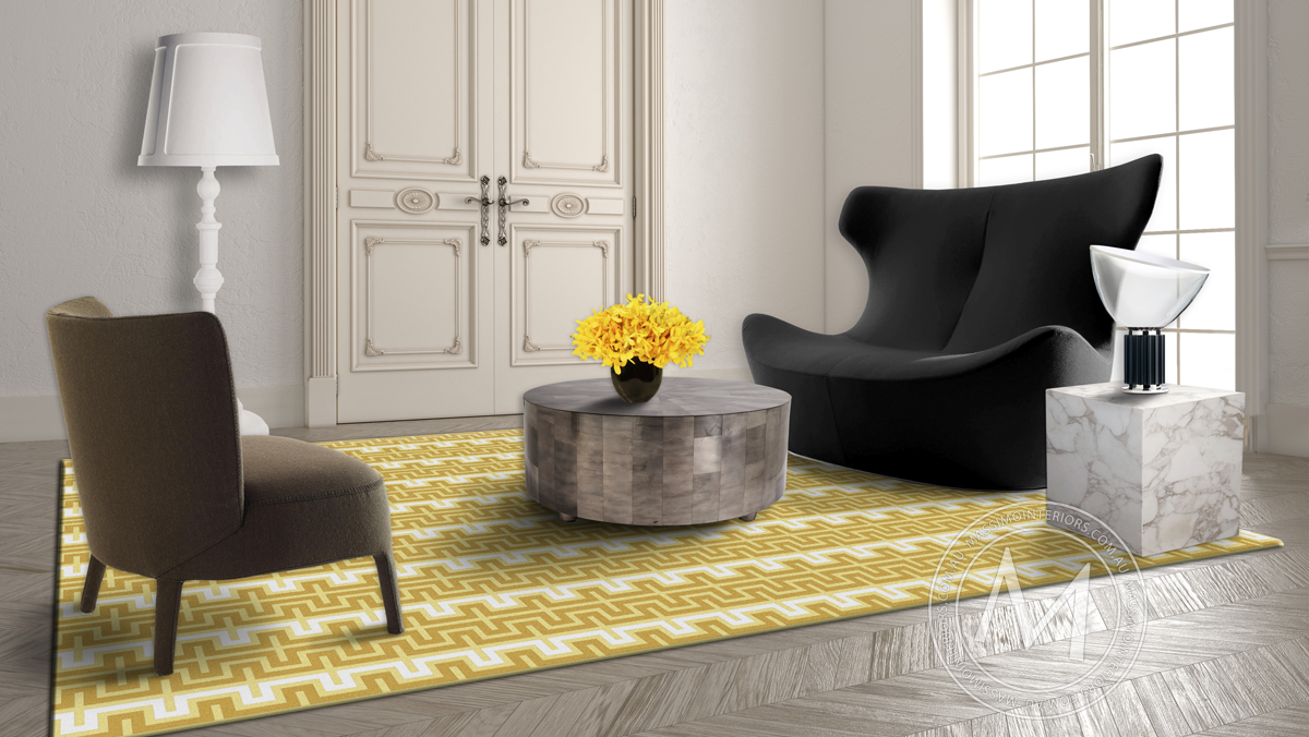 white and yellow designer rug in melbourne