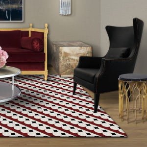 pattern rug with black chair