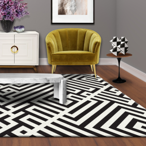 black and white patter designer rugs in melbourne