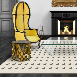 yellow chair with cream and grey pattern floor rug