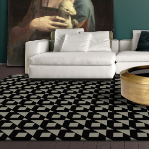 black and grey designer rug in melbourne