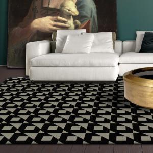 black and grey designer rug in melbourne