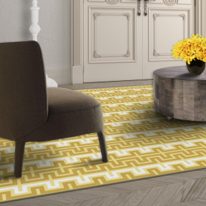 white and yellow pattern designer rug