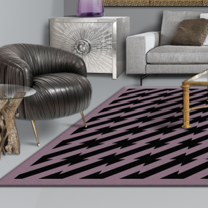 designer floor rug, black and purple